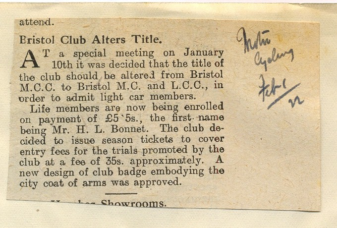 Bristol Club Alters Title